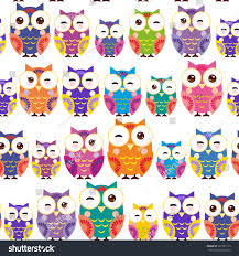 seamless pattern bright colorful owls on stock vector 307281113