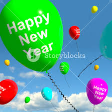 happy new year balloon balloons in the sky showing happy new year royalty free stock