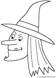 witch face coloring page halloween