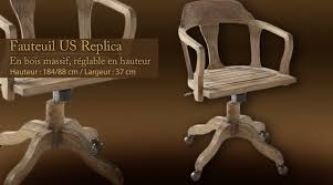fauteuil de bureau en bois pivotant fauteuil de bureau us replica