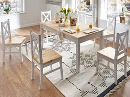 Landhaus Esszimmertisch Essgruppe Charlot Esstisch 6 Stühle Tischgruppe Esszimmer Tisch