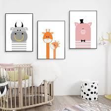 cute cartoon animal nursery canvas posters giraffe canvas print