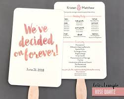 program fans decided on forever watercolor wedding program fan warm colors