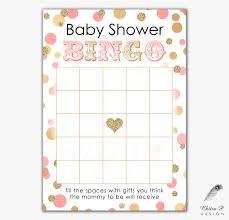 pink u0026 gold baby shower bingo card printed or printable instant