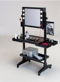 professional makeup station presdual sided studio makeup station w lights mirror wheels