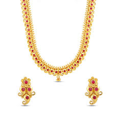 gold long necklace set images Traditional gold plated long necklace set maalyaa jpg