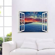 beach home decor olivia decor decor for your home and office free shipping rock evening beach sky sunset 3d window landscape removable wall sticker art mural wall decal home decor w012