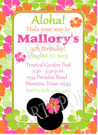 Minnie Mouse Invitation Card Printable Minnie Mouse Luau Invitation Thank You Card By Partypops