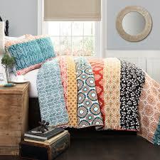 Rainbow Comforter Set Boho Stripe 5 Piece Quilt Set Hayneedle
