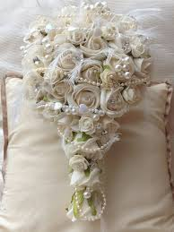 wedding flowers ebay ivory roses wedding flowers teardrop brides bouquet pearls