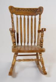 Antique Spindle Rocking Chair Vintage Miniature Dollhouse Pressed Back Type Spindle Rocking
