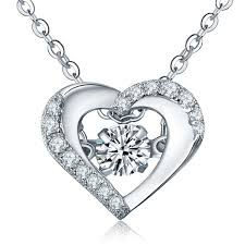 wholesale silver necklace pendants images 2018 dancing diamond 925 sterling silver heart necklace pendant jpg