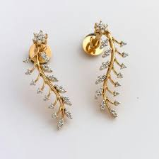 earring design fancy golden earring designs jewellery design for women