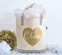 bridal party tote bags personalized bridesmaid tote bag bridal party tote gold heart