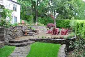 tiered patio design sloping away from home with landscaping and
