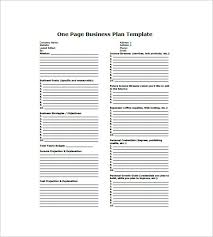 Free Business Plan Template Excel One Page Business Plan Template 8 Free Word Excel Pdf Format