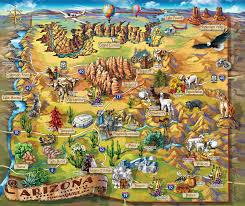 Map States Usa by Large Detailed Tourist Illustrated Map Of Arizona State Arizona