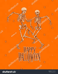 Dancing Halloween Skeleton by Dancing Skeletons Halloween Party Celebration Poster Stock Vector