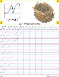 cursive capital letter n practice worksheet download free