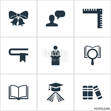 vector illustration set of simple school icons elements