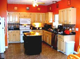 bold orange wall color and black island for traditional kitchen