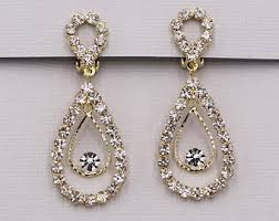 clip on bridal earrings gold clip on earring etsy