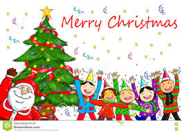 merry santa claus tree celebration stock