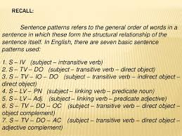 sentence patterns english exercises basic sentence patterns and traditional classification of sentences