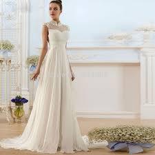 collar ruched simple bridal wedding dress chiffon a line high neck