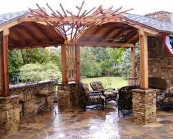 kitchen amusing outdoor kitchen design under wooden gazebo as
