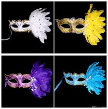 halloween feather masks masquerade masks half faces venetian mask with feather mardi gras