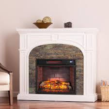 Electric Media Fireplace Granby 45 75 In W Faux Stone Infrared Electric Fireplace In White