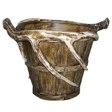 replica antler waste basket planter pot