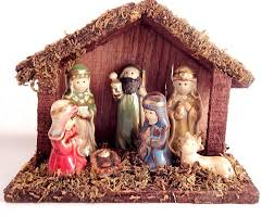 nativity scene wooden stable with attached ceramic figurines