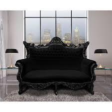 canapé 2 places simili cuir baroque rococo 2 places simili cuir noir et bois noir
