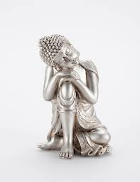 relaxed buddha silver statues decorations dekorationer