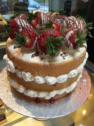 White Chocolate Covered Strawberries Homemade Fresh Cream Victoria Sponge Topped With White Chocolate