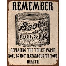 Toilet Paper Funny Replacing The Toilet Paper Metal Tin Sign Poster Wall Plaque