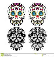halloween background sugar skulls mexican retro sugar skull dia de los muertos icons set stock