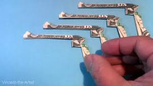 money origami gun u0026 holster dollar bill art youtube