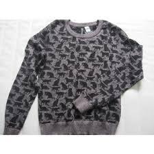 h m black kitten novelty cat print metallic sweater top