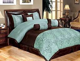 King Size Silk Comforter Amazon Com 7 Piece Bed In A Bag Peony Aqua Blue Brown Faux