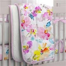 watercolor floral 3 piece crib bedding set carousel designs