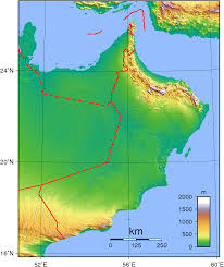 Elevation Map Of United States by Geography Of Oman Wikipedia