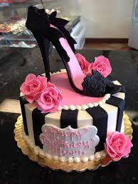 pink and black high heel shoe cake for that fashionable