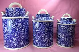 crownford china canister set calico blue calico canister set