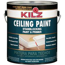 Home Depot Paint Colors Interior Kilz White Flat 1 Gal Interior Stainblocking Ceiling Paint And