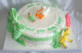 baby shower cake with edible stork giraffe pig elephant infant