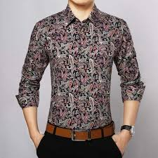 buy 2017 long sleeve floral men shirt cotton fashion turn down