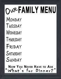 family menu white eraseboard framed canvas
